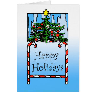 Happy Holidays, Christmas Tree and Candy Canes Card