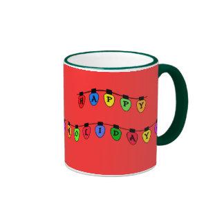 Happy Holidays Christmas Tree Bulbs Mug