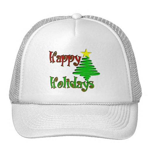 Happy Holidays Christmas Tree Mesh Hats