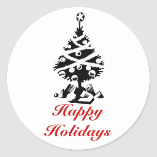Happy Holidays, Christmas Tree in black and white Round Sticker