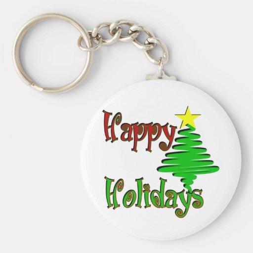 Happy Holidays Christmas Tree Key Chains