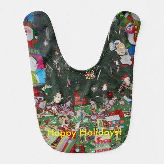 Happy Holidays Christmas Tree Presents Ornaments Bib