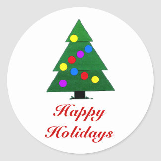 Happy Holidays, Christmas Tree with lights Round Sticker