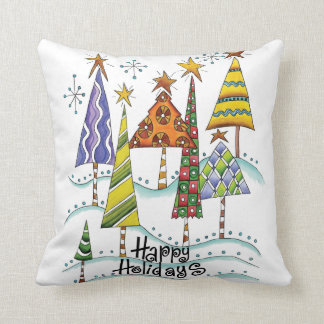 Happy Holidays Christmas Trees Throw Pillows