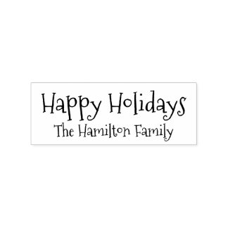 Happy Holidays Christmas Typography Custom Rubber Stamp