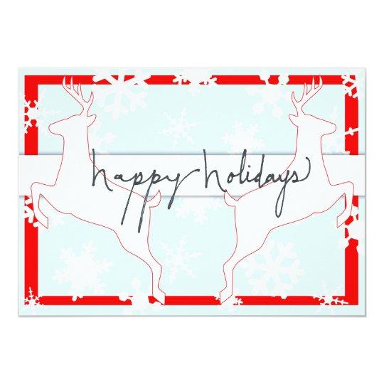 happy holidays christmas vintage red blue reindeer card