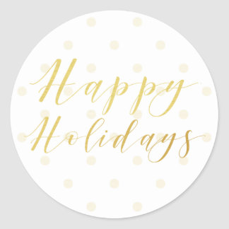 Happy Holidays Classic Typography & Polkadots Classic Round Sticker