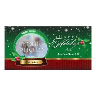 Happy Holidays Clear  Snow Globe Customizable Photo Cards
