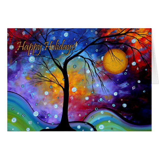 Happy Holidays Colourful Art Greeting Card MADART