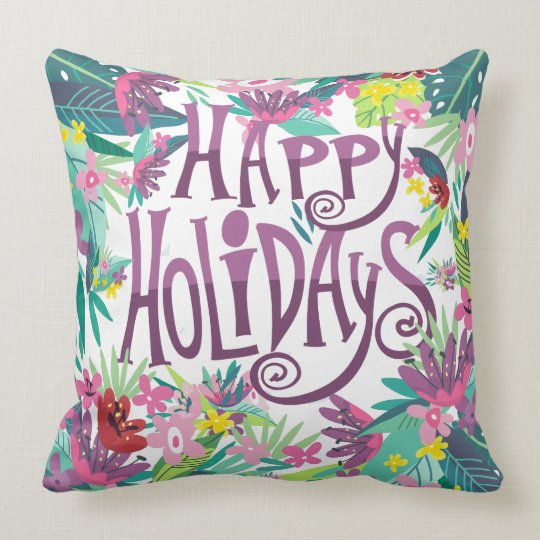 Happy Holidays Colourful Tropical Flowers Frame Throw Pillow