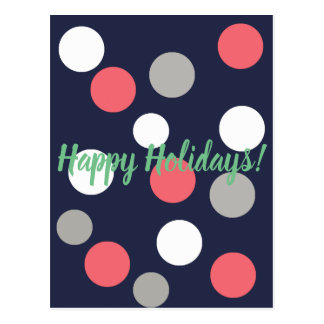 Happy Holidays Coral White Grey Balls Postcard