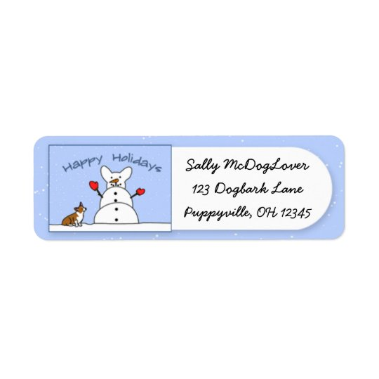 Happy Holidays Corgi Christmas Return Address Label