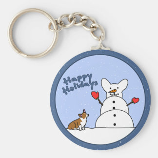 Happy Holidays Corgi Keychain