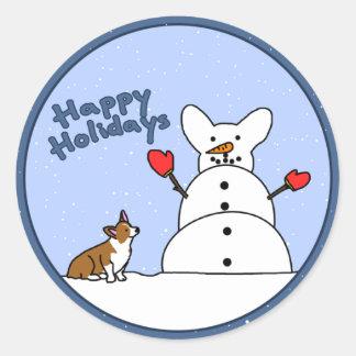 Happy Holidays Corgi Stickers