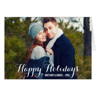 Happy Holidays Couple Photo Fold Card W