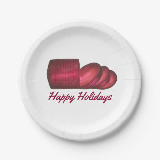 Happy Holidays Cranberry Sauce Christmas Plates 7 Inch Paper Plate