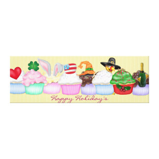 Happy Holiday's Cupcake Wrapped Canvas Gallery Wrap Canvas