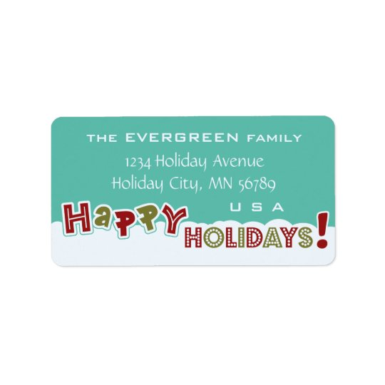 Happy Holidays custom address labels