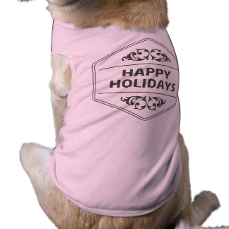Happy Holidays Custom Background Doggie Tee Shirt