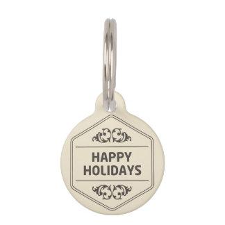 Happy Holidays Custom Background Pet Name Tag