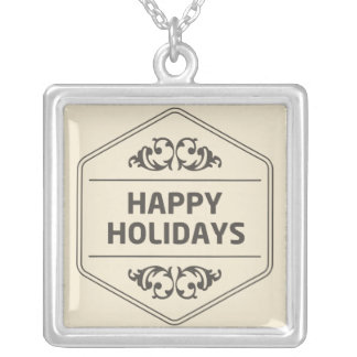 Happy Holidays Custom Background Silver Plated Necklace