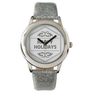 Happy Holidays Custom Background Wrist Watches