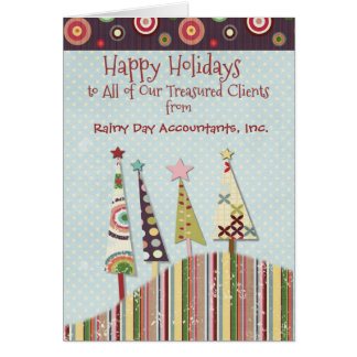 Happy Holidays Custom Business Name Colorful Trees Card