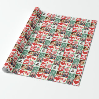 Happy Holidays Custom Family Name and 4 Photos Wrapping Paper