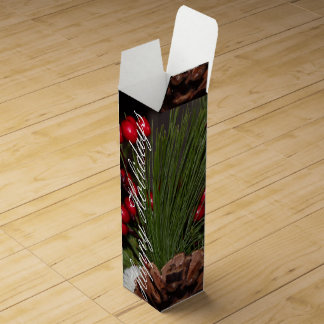 Happy Holidays Custom Flowered Wine Box