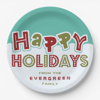 Happy Holidays custom name paper plates