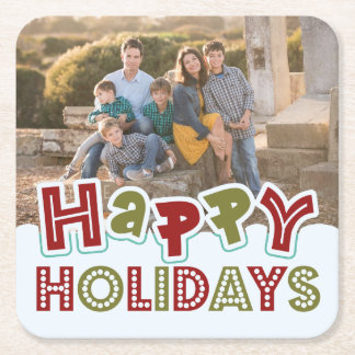 Happy Holidays custom photo coasters