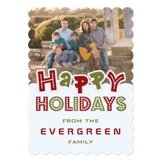 "Happy Holidays custom Photo & Name card 5"" X 7"" Invitation Card"