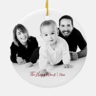 Happy Holidays | Cute and Simple Christmas Photo Ceramic Ornament