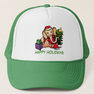 """Happy Holidays"" Cute Cartoon Santa Elephant Trucker Hat"