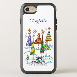 Happy Holidays! Cute Christmas Trees with Stars OtterBox Symmetry iPhone 8/7 Case