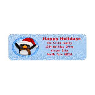 Happy Holidays Cute Penguin Return Address Label