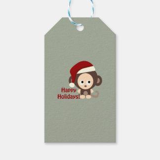 Happy Holidays Cute Santa Monkey Gift Tags