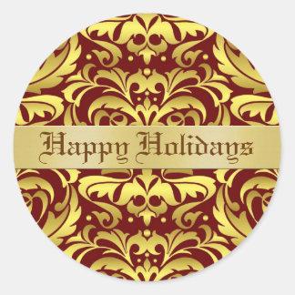 Happy Holidays Damask Elegant Envelope Sticker