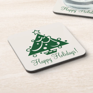 Happy Holidays Decorated Green Christmas Tree2 Coaster