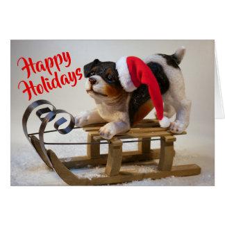 Happy Holidays Dog Folded Christmas Greeting Card