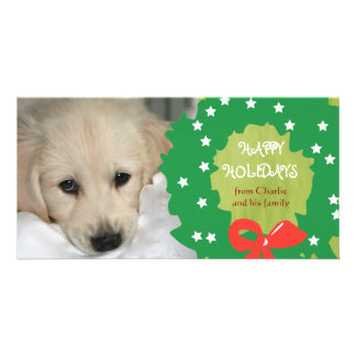 Happy Holidays Dog Photo Cards Wreath Green