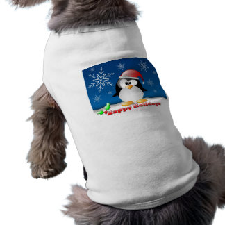 Happy Holidays Doggie Ribbed Tank Top Dog Clothes