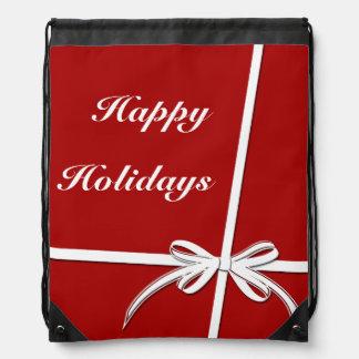 Happy Holidays Drawstring Bag