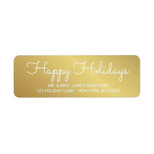Happy Holidays Elegant Gold Hand Lettered Label