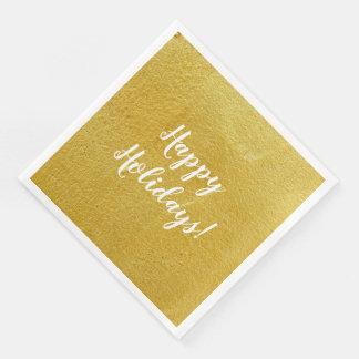 Happy Holidays Elegant Paper Dinner Napkin Paper Napkin