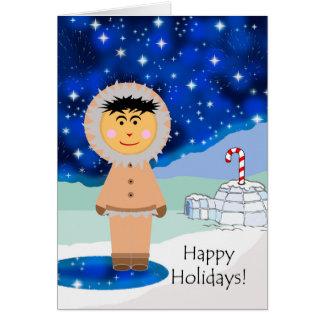 Happy Holidays, Eskimo Greetings, Winter Scene Card