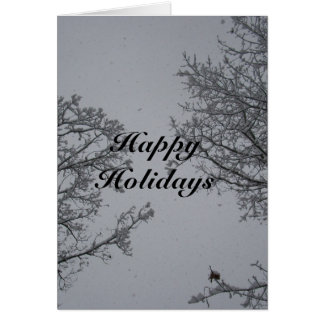 Happy Holidays Falling Snow CustomizeGreeting Card