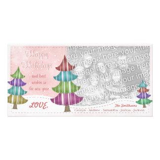 Happy Holidays Family Christmas Whimsical Trees Photo Card
