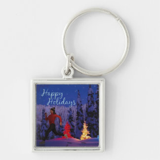 Happy Holidays - Female Runner Silver-Colored Square Keychain