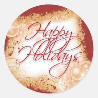 """Happy Holidays"" festive greetings Classic Round Sticker"